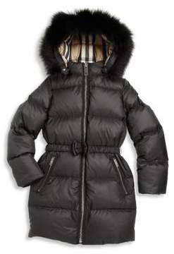 Burberry Little Girl's & Girl's Consilla Fox Fur-Trim Down Puffer Jacket