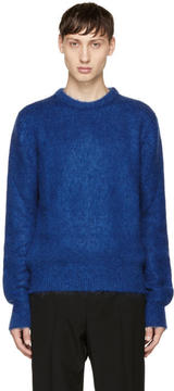 Saint Laurent Blue Mohair Crewneck Sweater