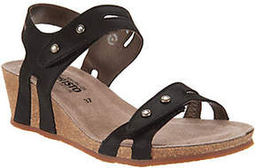 Mephisto Leather Double Strap Wedges - Minoa