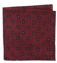 Black & Brown Black Brown Wool Paisley and Floral Pocket Square