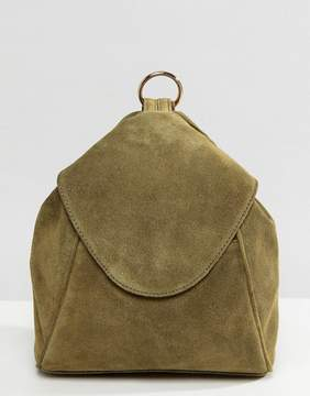 Asos DESIGN suede minimal backpack with ring pull detail