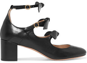 Chloé Mike Bow-embellished Leather Mary Jane Pumps - Black