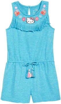 Hello Kitty Little Girls Embroidered Fringe-Trim Romper