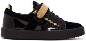 Giuseppe Zanotti Navy and Black Velvet May London Sneakers