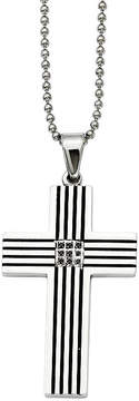 Black Diamond FINE JEWELRY Mens Color-Enhanced Accent Stainless Steel Black-Plated Cross Pendant