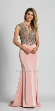 Dave and Johnny Dazzling Illusion Embellished A-line Prom Dress