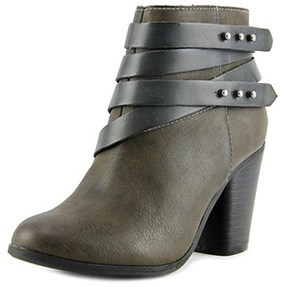 Material Girl Mini Women Round Toe Leather Gray Ankle Boot.