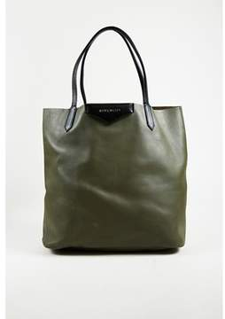 Givenchy Pre-owned Green Black Calfskin Leather antigona Shopping Tote Bag.