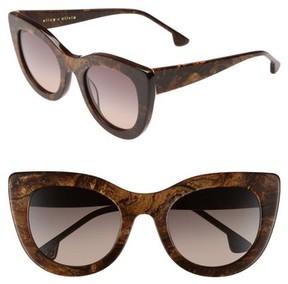 Alice + Olivia Women's Delancey 51Mm Cat Eye Sunglasses - Burlwood