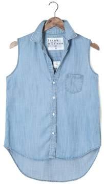 Frank And Eileen Womens Fiona Sleeveless Stonewash Indigo Shirt