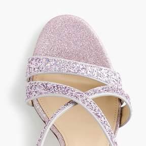 J.Crew Crisscross strappy heels (105mm) in glitter