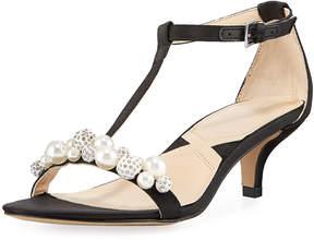 Adrienne Vittadini Kalina Satin Pearly Embellished Sandal