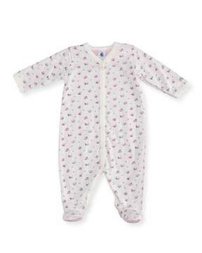 Petit Bateau Floral-Print Footie Pajamas, Size Newborn-9M