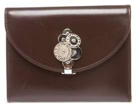 Bvlgari Dark Brown Leather Embellished Closure Wallet.
