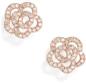 Ef Collection Women's Rose Diamond Stud Earrings