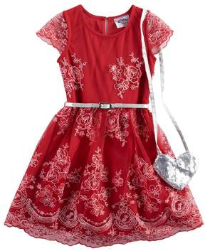 Knitworks Girls 4-6x Lace Skater Dress & Heart Purse Set