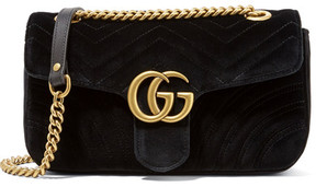 Gucci - Gg Marmont Small Velvet Shoulder Bag - Black