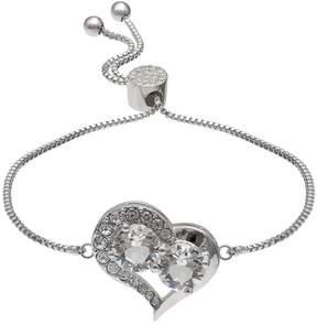Brilliance+ Brilliance Silver Plated Heart Bolo Bracelet with Swarovski Crystals