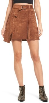 J.o.a. Women's Belted Faux Suede Miniskirt