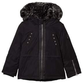 Ikks Black Short Parka with Leopard Faux Fur Hood