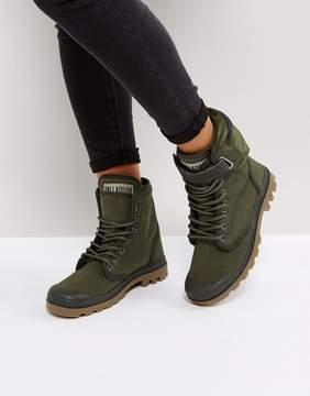 Palladium Solid Ranger Khaki Twill Flat Ankle Boots