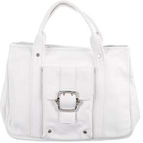 Longchamp Leather Buckle Handle Tote - WHITE - STYLE