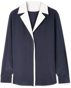 Frame Two-tone Silk Crepe De Chine Shirt - Navy