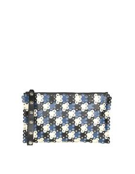 RED Valentino Clutch flower Power In Blue And Ivory Leather