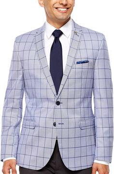 Asstd National Brand Nick Graham Navy Windowpane Slim Fit Woven Sport Coat