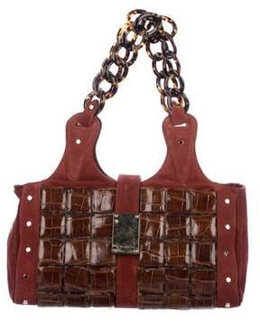 Oscar de la Renta Crocodile-Trimmed Suede Bag