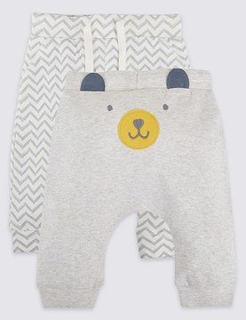 Marks and Spencer 2 Pack Pure Cotton Applique Face Joggers