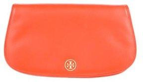 Tory Burch Leather Logo Clutch - ORANGE - STYLE