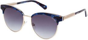 Balmain BL2519 Blue Tortoise-Look Half-Rim XL Butterfly Sunglasses