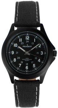 Peugeot Men's Casual Aviator Canvas Watch - 2055BK