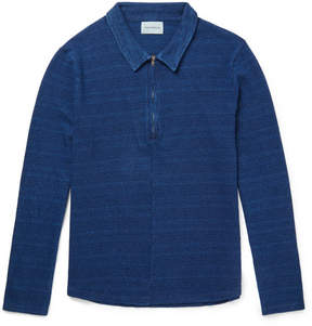 Oliver Spencer Faro Indigo-Dyed Cotton Half-Zip Shirt