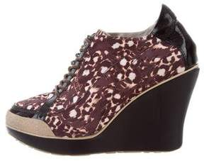 Just Cavalli Printed Lace-Up Wedges