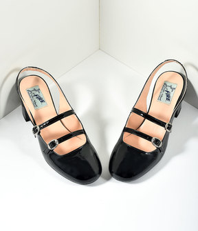 Unique Vintage Miss L Fire 1960s Style Black Patent Leather Mary Jane Open Dolly Heels Shoes