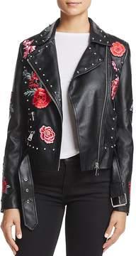 Bagatelle Embellished Faux-Leather Moto Jacket