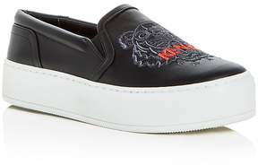Kenzo Women's Tiger Embroidered Leather Slip-On Platform Sneakers