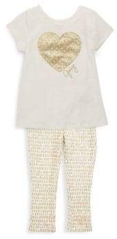 Juicy Couture Little Girl's Gold Heart Tee & Leggings Set