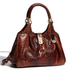 Brahmin Elisa Croc Embossed Leather Shoulder Bag - Brown