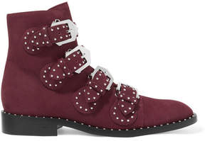 Givenchy Studded Suede Ankle Boots - Burgundy
