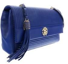 Roberto Cavalli Bluette Leather Large Shoulder Bag