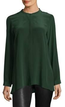 Eileen Fisher Mandarin Silk Collared Shirt
