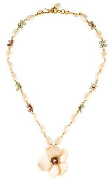 Chanel Crystal & Faux Pearl Flower Necklace