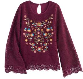 Knitworks Girls 7-16 Lace Floral Embroidered Top
