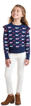 Vineyard Vines Girls Allover Whale Ruffle Sweater