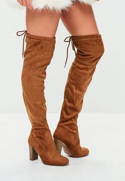 Missguided Brown Over The Knee Heeled Boots