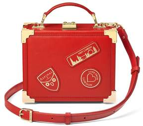 Aspinal of London Mini Trunk Clutch In Smooth Scarlet With London Patches