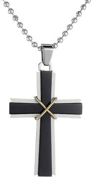 JCPenney FINE JEWELRY Mens Stainless Steel & Black IP Cross Pendant Necklace